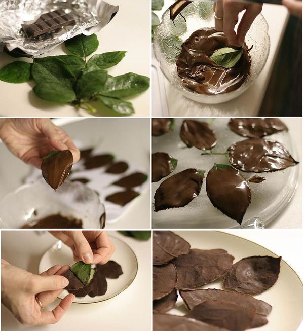 Листики для торта из шоколада